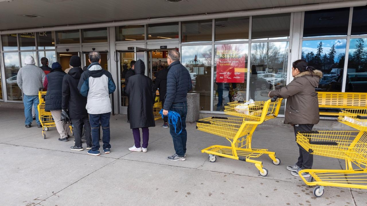 line-up to enter a grocery store