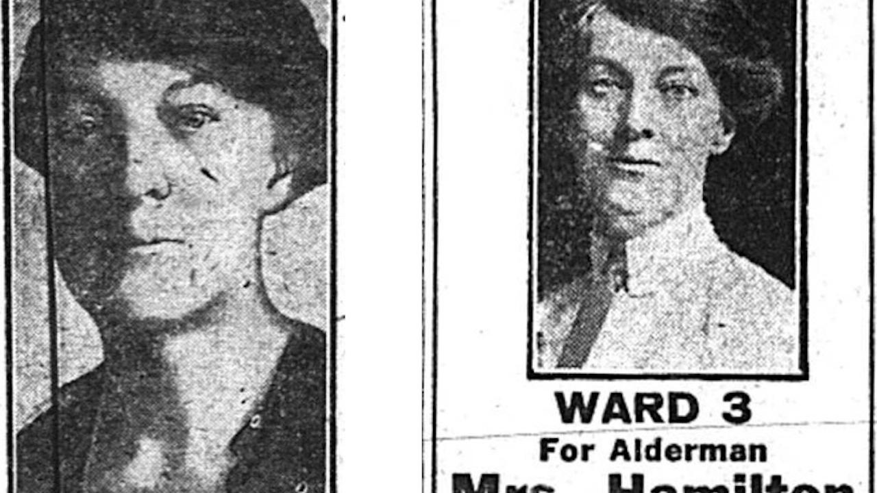 two archive newspaper photos of a politician