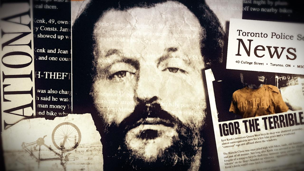 Image of bearded man and news clippings.