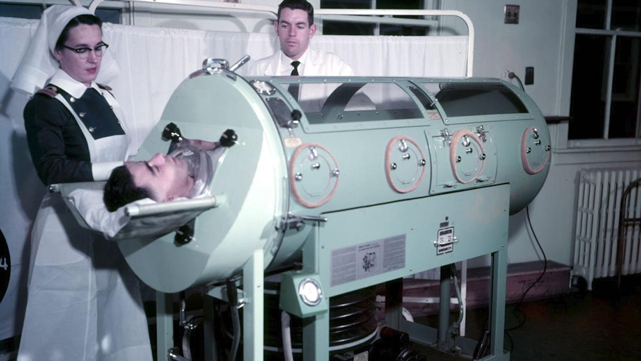 a patient in an iron lung