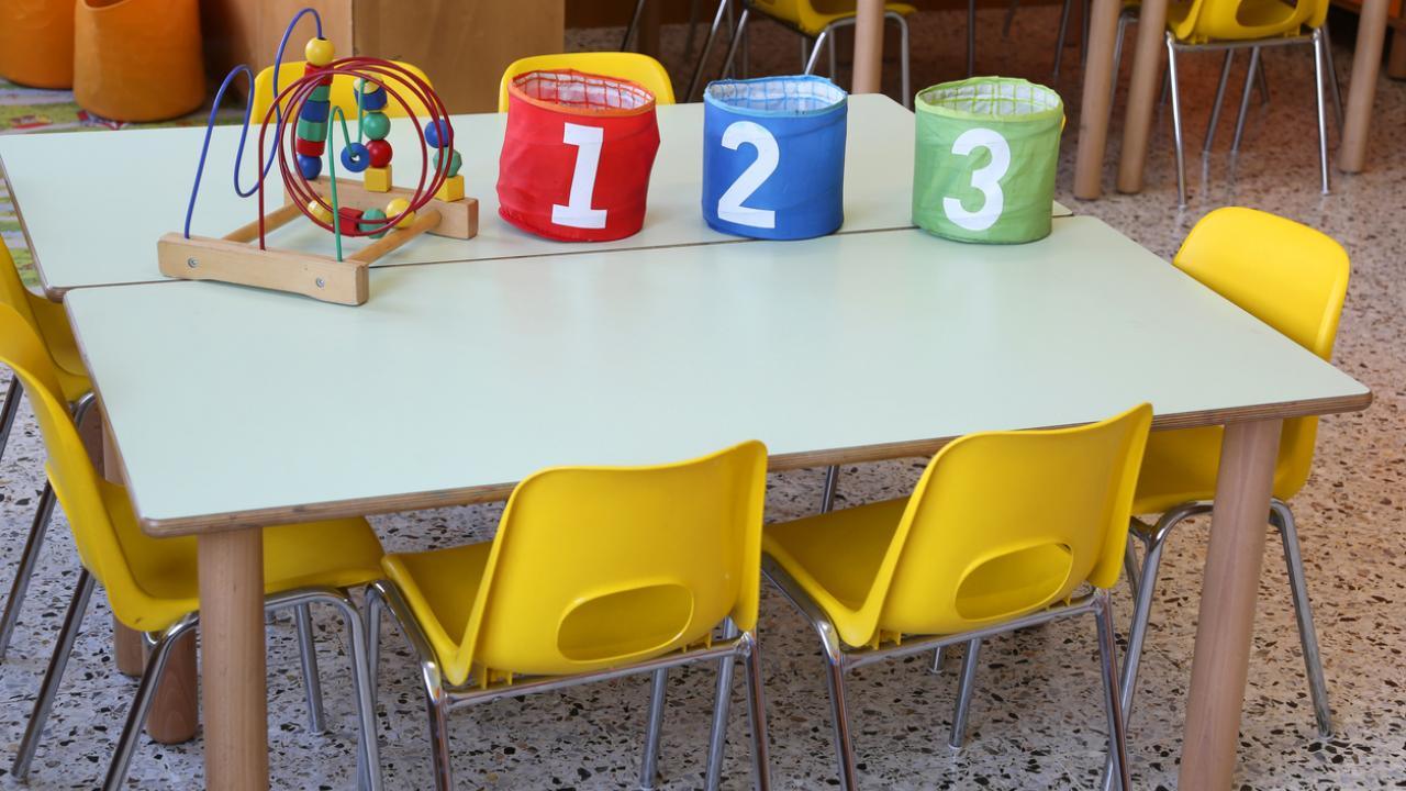 Table in early childhood classroom