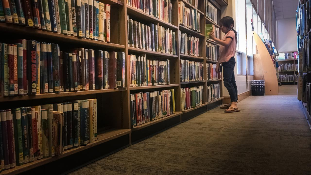 Girl looks at bookshelves in library.