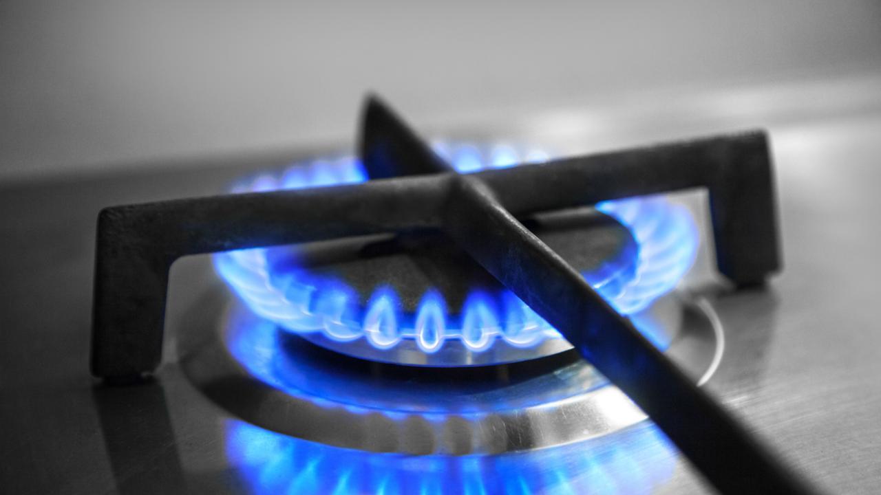Natural gas burner turned on