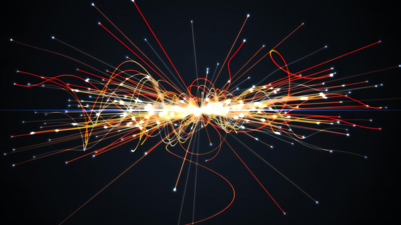 Illustration of particles smashing into each other in the Large Hadron Collider.