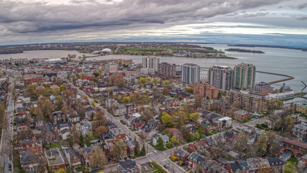Kingston's downtown as seen from the air.