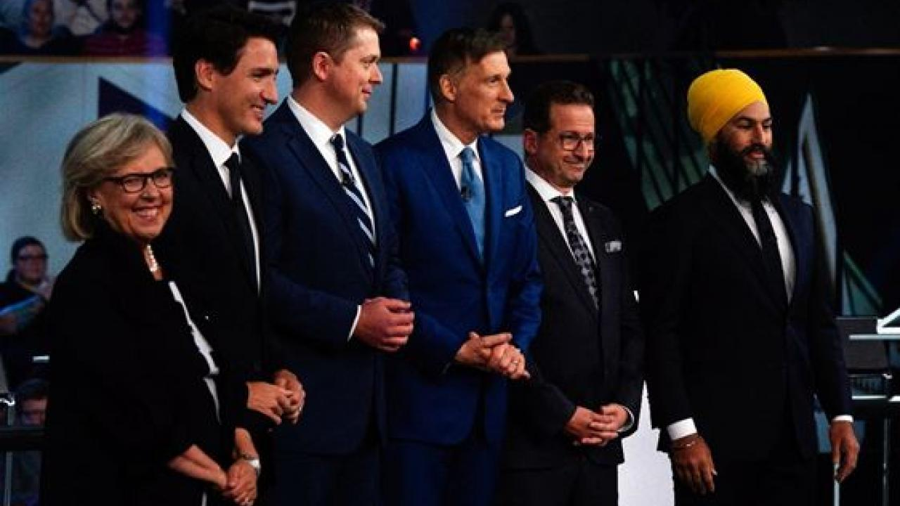 Elizabeth May, Justin Trudeau, Andrew Scheer, Maxime Bernier, Yves-François Blanchet and Jagmeet Singh