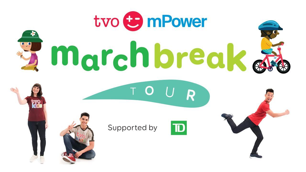 TVO mPower tour logo with TVOkids hosts.