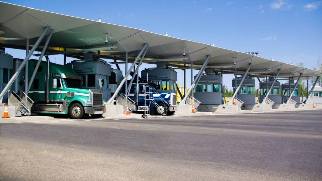 trucks at a border crossing