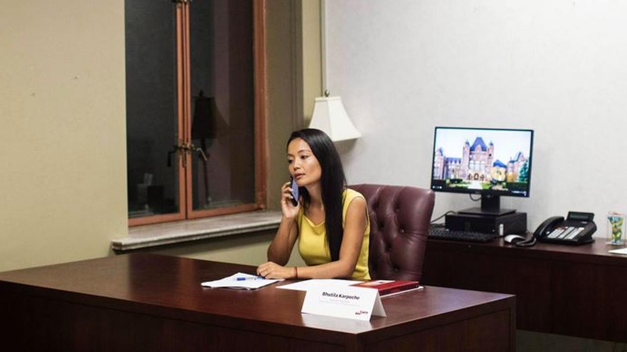 Bhutila Karpoche in her office at Queen's Park