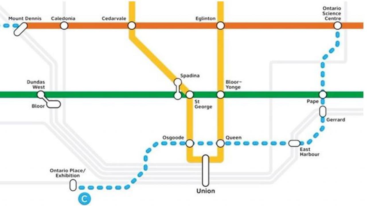 Map of TTC subway routes