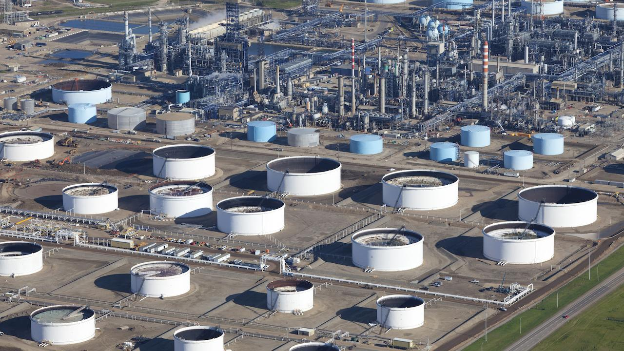 aerial shot of an oil refinery