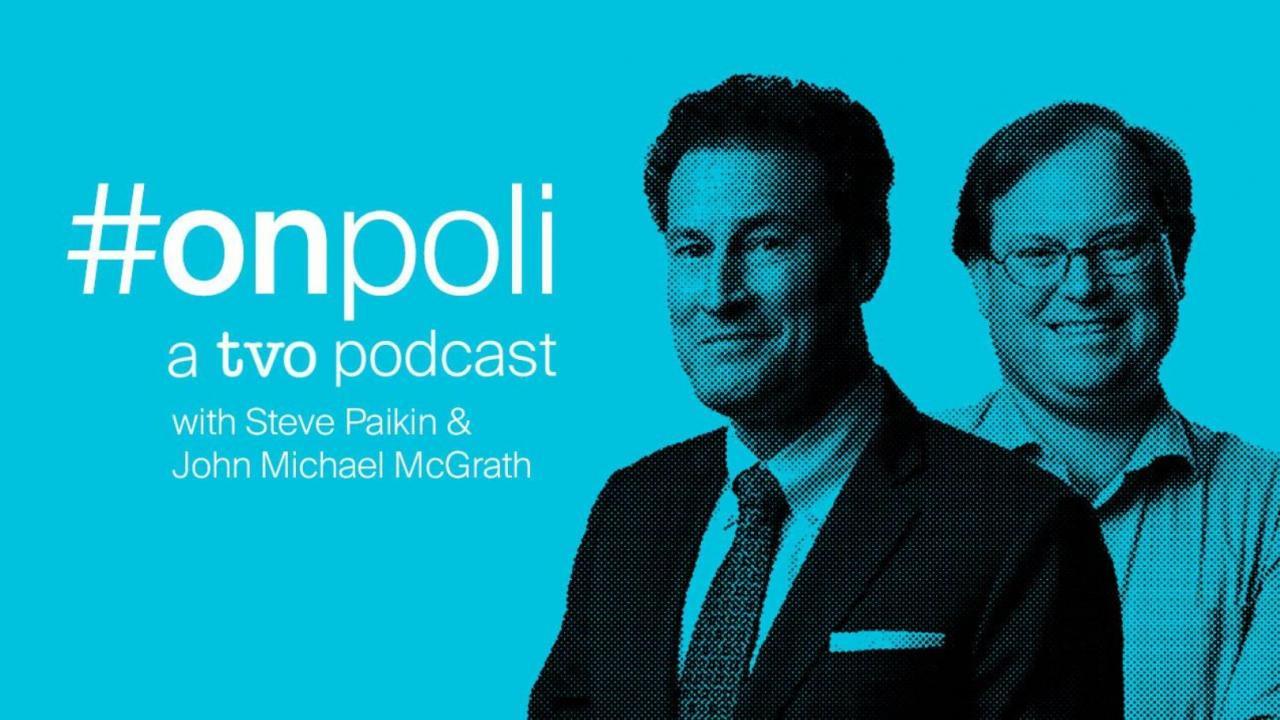 "Steve Paikin and John Michael McGrath with text ""onpoli - a TVO newsletter."""