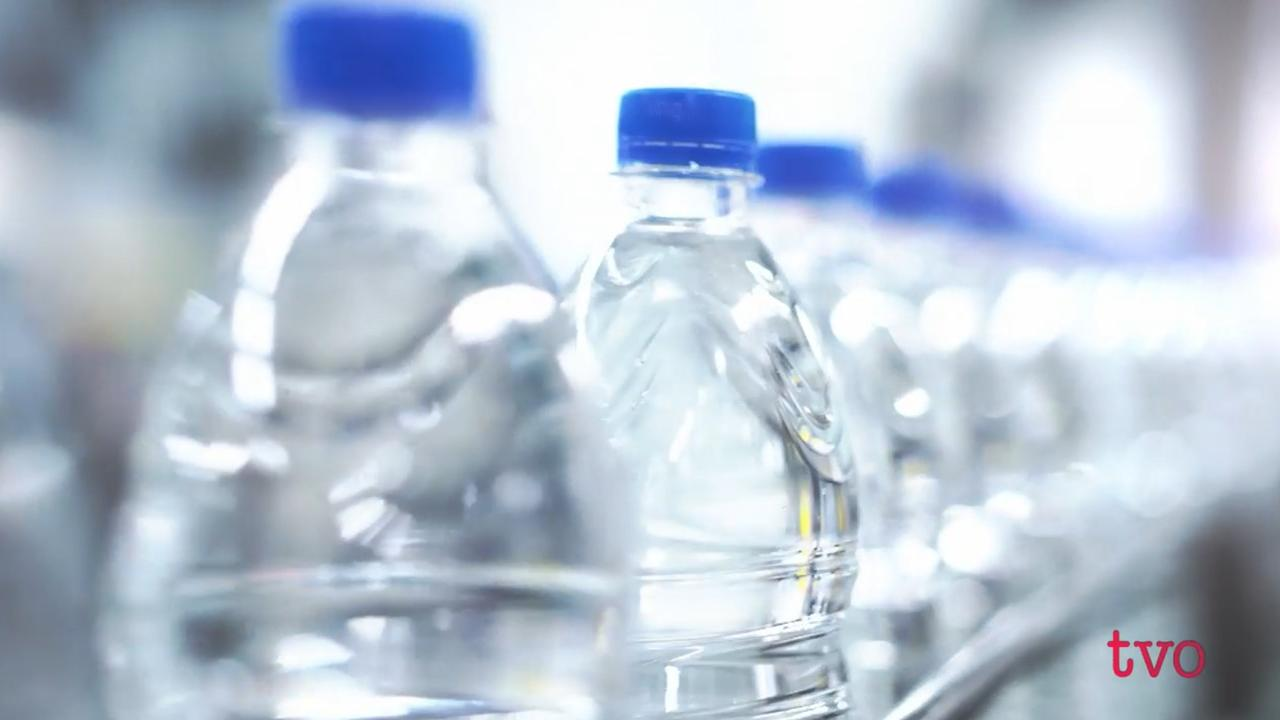 A line of plastic bottles.