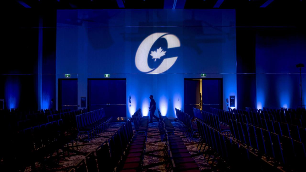 Conservative Party of Canada logo on a screen