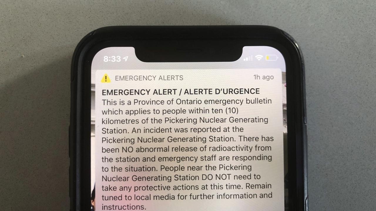 An emergency alert on a smart phone