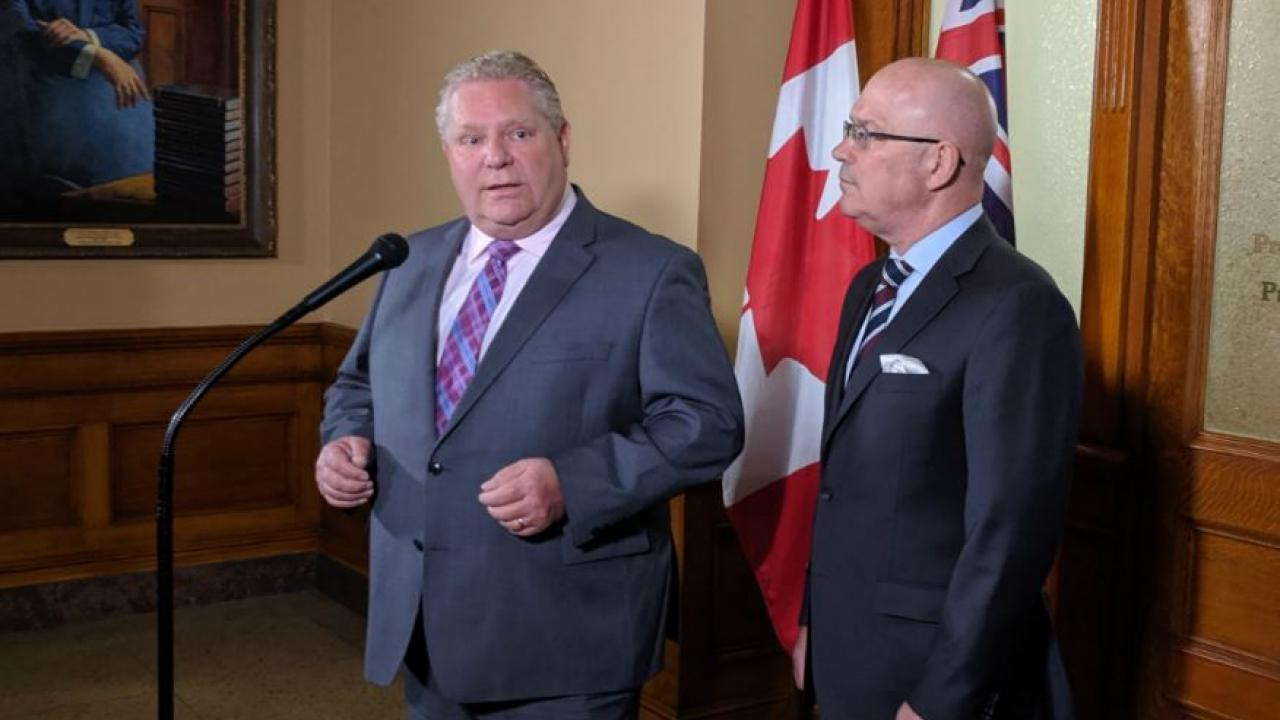 Ontario Premier Doug Ford and MPP Steve Clark