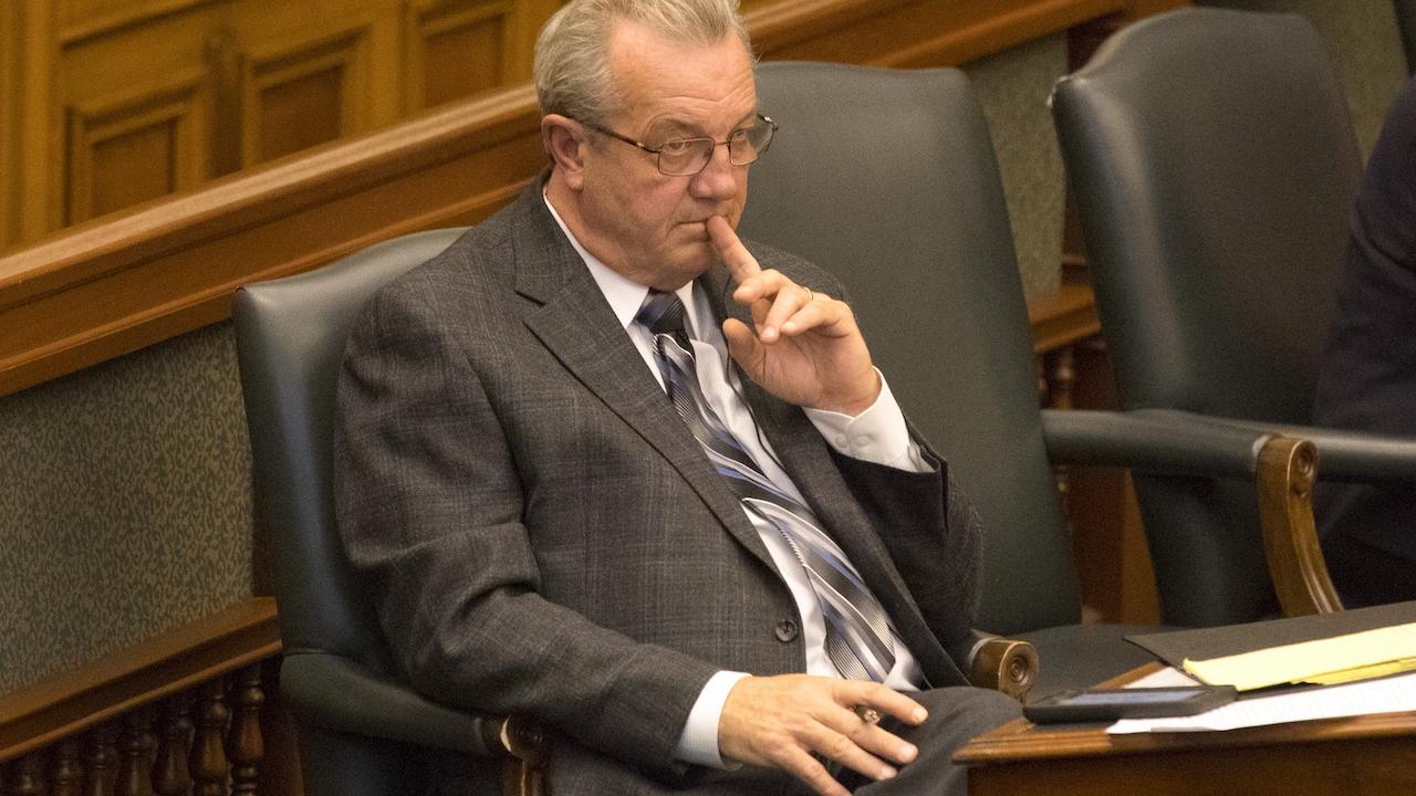 MPP Randy Hillier in his seat at Queen's Park