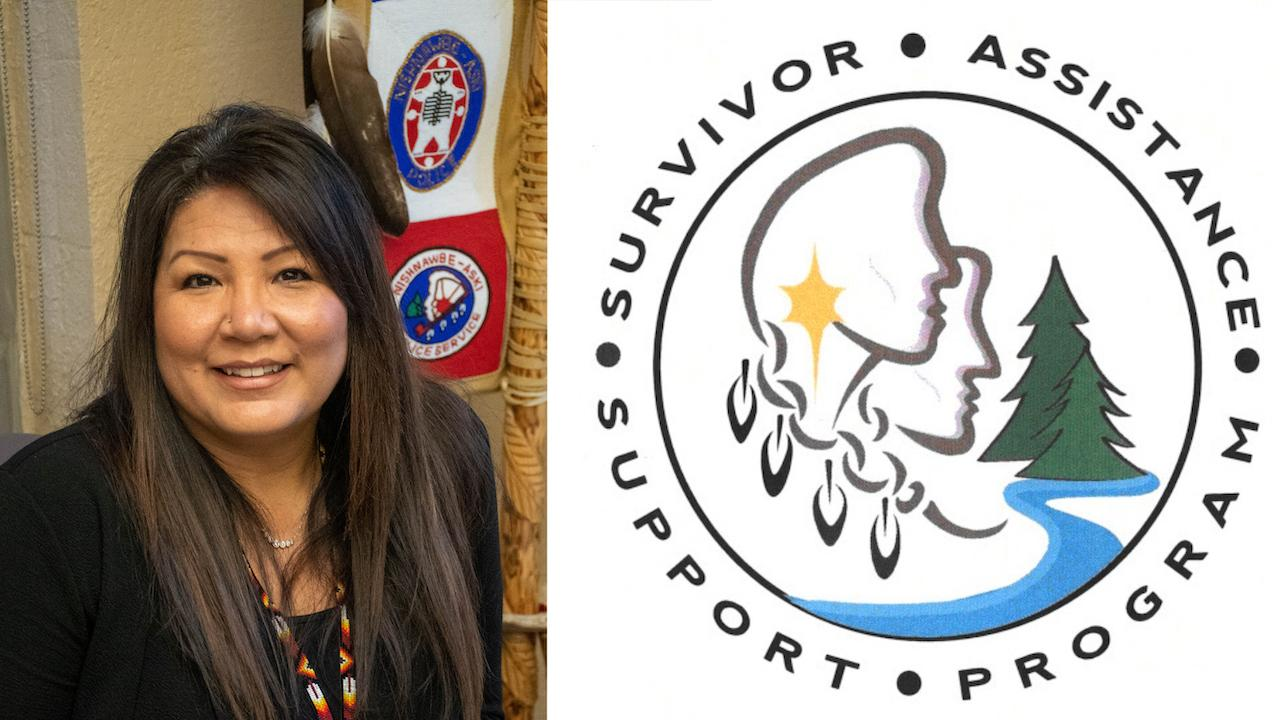 portrait of a woman on the left; logo of the Survivor Assistance Support Program on the right