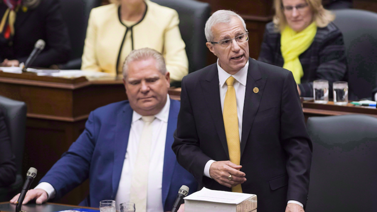 Then-finance minister Vic Fedeli tables the Progressive Conservatives' fall economic statement in November 2018.