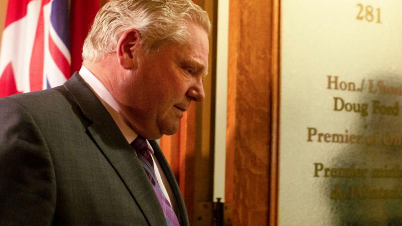 Doug Ford outside his office at Queen's Park