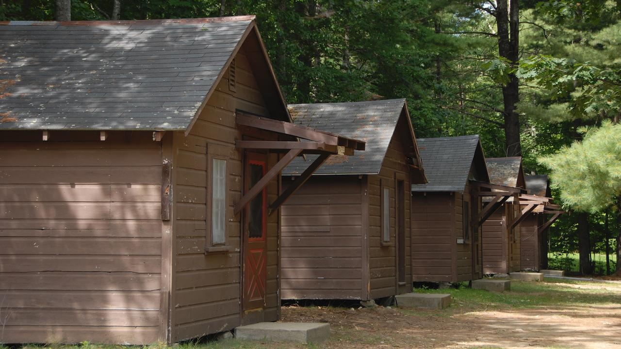 a row of camp cabins