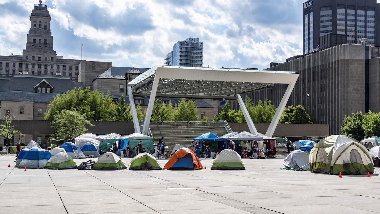 a collection of tents in a square