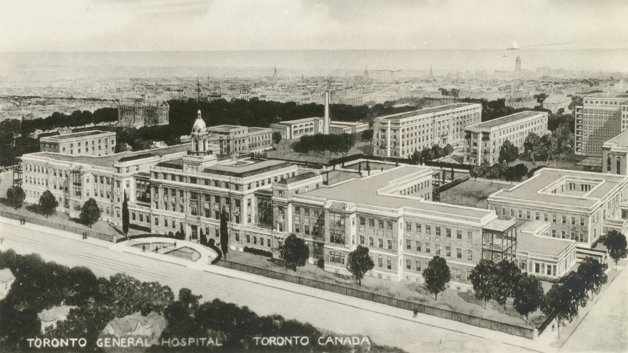 black and white aerial view of an old hospital