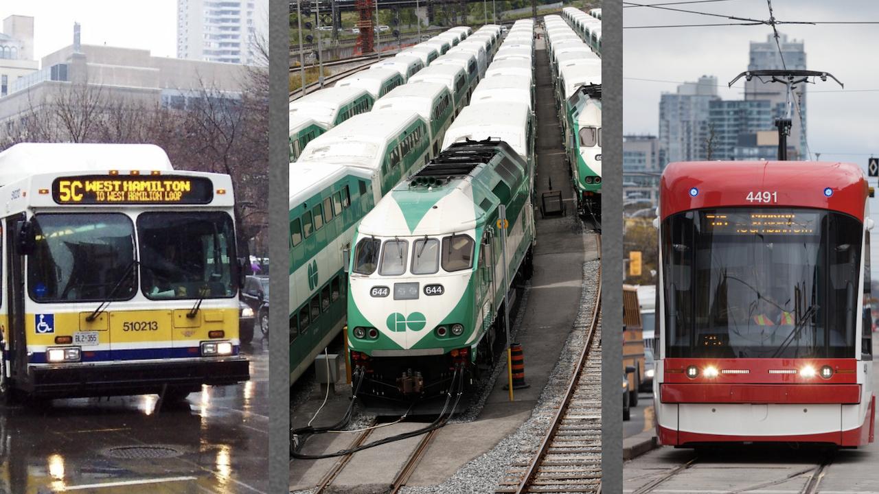 photos of a bus, a train, and a streetcar