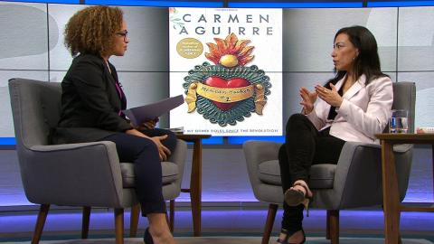 Host Nam Kiwanuka with author Carmen Aguirre on set at The Agenda in the Summer.