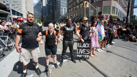 Black Lives Matter protesters at Toronto's Pride parade