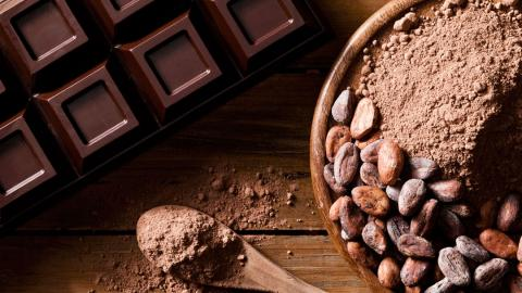 a chocolate bar and cocoa beans