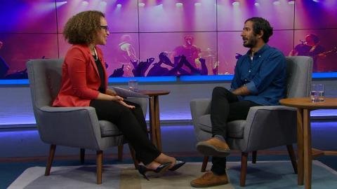 Host Nam Kiwanuka and musician Shehzaad Jiwani on the set of The Agenda in the Summer