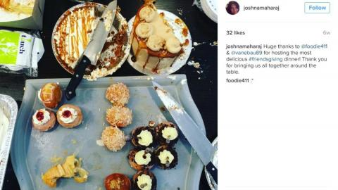 Chef Joshna Maharaj's instagram showing a half eaten meal