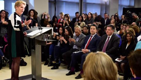 Kathleen Wynne announcing mental health plan at Toronto's CAMH