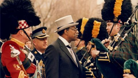 Lincoln Alexander inspecting the honour guard