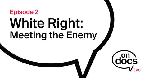 Speech bubble with the film title White Right Meeting the Enemy inside it.