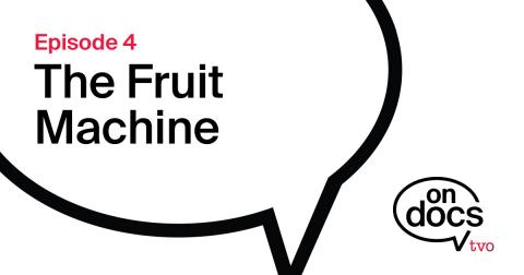 Speech bubble with the word The Fruit Machine Inside