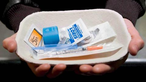 a tray of drugs administered at a safe injection site