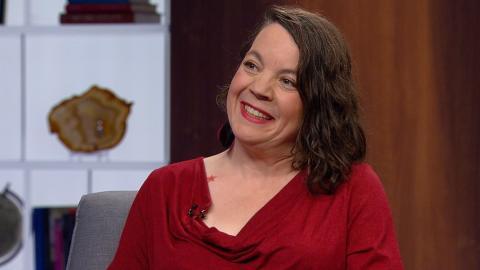 Author Sonja Larsen on the set of The Agenda in the Summer.