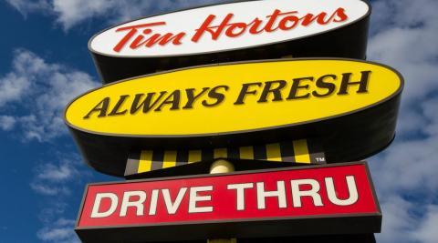 Tim Hortons restaurant sign