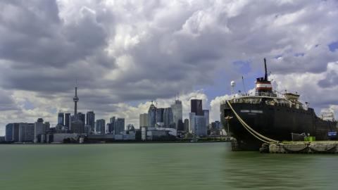 A container ship in the Toronto harbour
