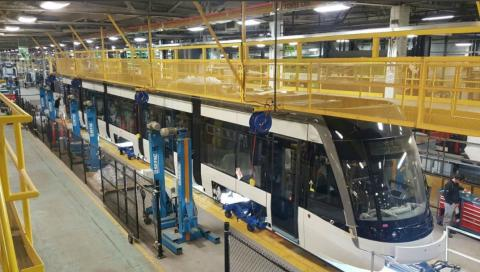 a light rail assembly line