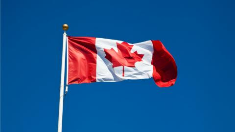 a Canadian flag flapping in the wind