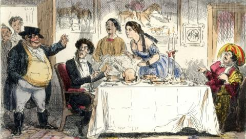 a drawing of a dinner table