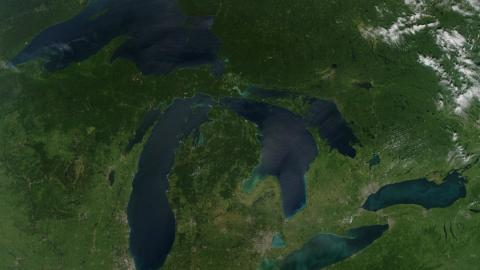 a satellite image of the great lakes