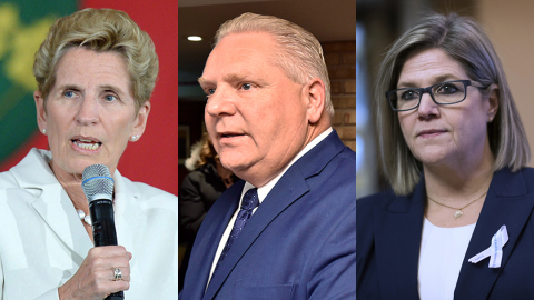 headshots of kathleen wynne, doug ford and andrea horwath