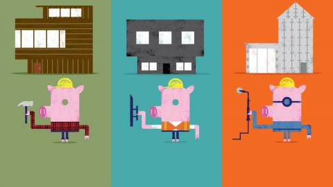 illustration of three little pigs building houses, one with wood, one with steel and one with concrete