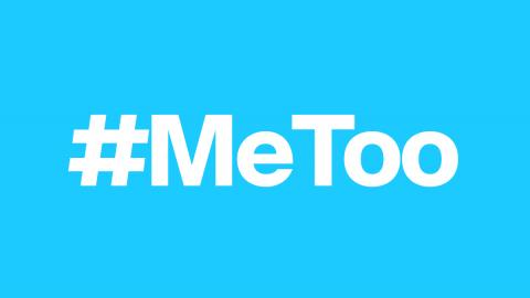 the hashtag me too, indicating women's support for one another around sexual harassment