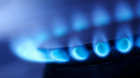 a natural gas flame on a stove
