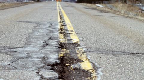 a pothole on a highway